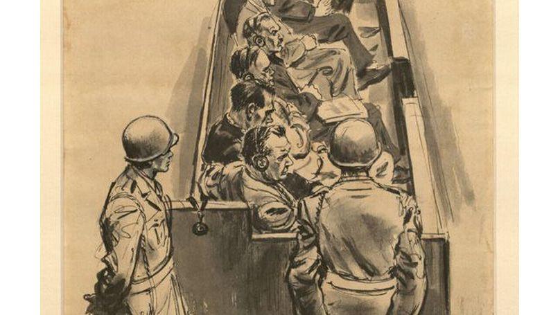 Les accusés au tribunal de Nuremberg, dessin d'Ed Vebell // Ed Vebell