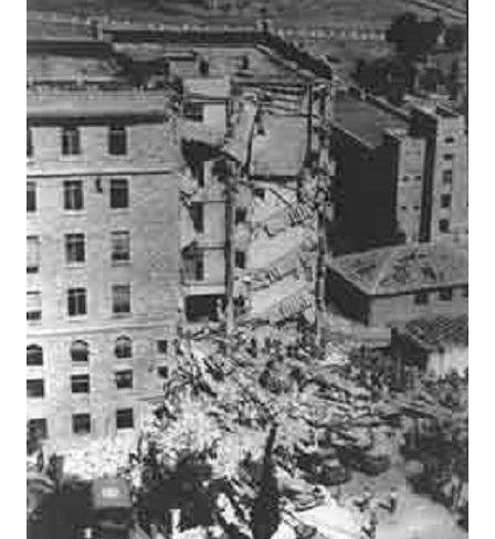La partie sud de l'hôtel King David après l'explosion