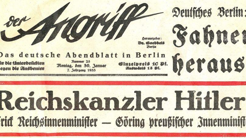 Communiqué de presse du Berliner Abendblatt «Attaque» du 30 janvier 1933 sur la prise de pouvoir par Adolf Hitler (scan du journal Mabit1 - Eigenes Werk) // CC BY-SA 4.0