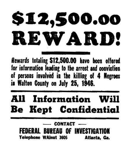 Une affiche du FBI demandant au public des informations sur le lynchage en Géorgie, sur le pont Ford de Moore