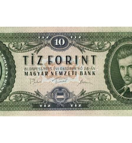 A banknote of 10 Hungarian forints