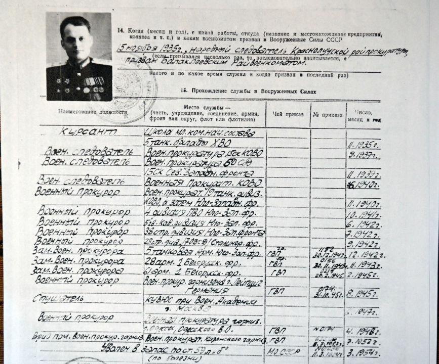 Extrait du dossier personnel de Dmitri Reznitchenko. Archives de la famille Reznitchenko. Dmitri Reznitchenko est entré dans l'armée en 1935, à l'âge de 23 ans.
