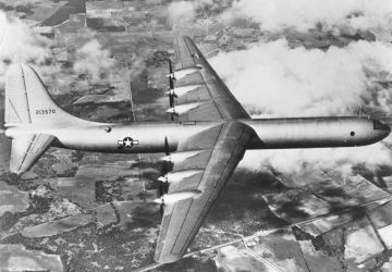 The XB-36 on its first flight