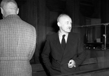"""Defendant J. Streicher during a meeting of the International Military Tribunal. December 1945 // Russian State Archive of Film and Photo Documents Arch. No. B-2476. © Portal """"Crimes of the Nazis in the USSR"""""""