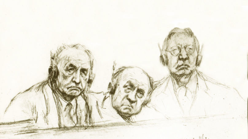 Nuremberg Trials. Defendants Julius Streicher, Walther Funk, and Hjalmar Schacht. Drawing by Nikolai Zhukov from the Central Armed Forces Museum Archive