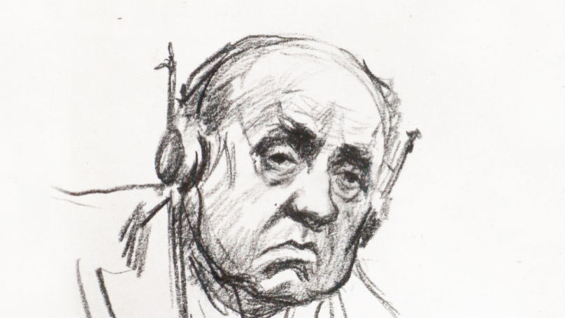 Defendant Walther Funk at the Nuremberg Trials. Drawing by Nikolai Zhukov from the Central Armed Forces Museum Archive