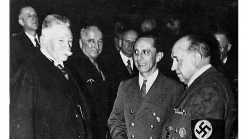 Alfred Hugenberg, Robert Ley, Joseph Goebbels, and Walther Funk at the celebration of the 25th anniversary of Universum Film AG, 1943