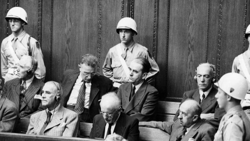 The Nuremberg Trials. In the dock: Wilhelm Frick, Julius Streicher, Walther Funk (front row)