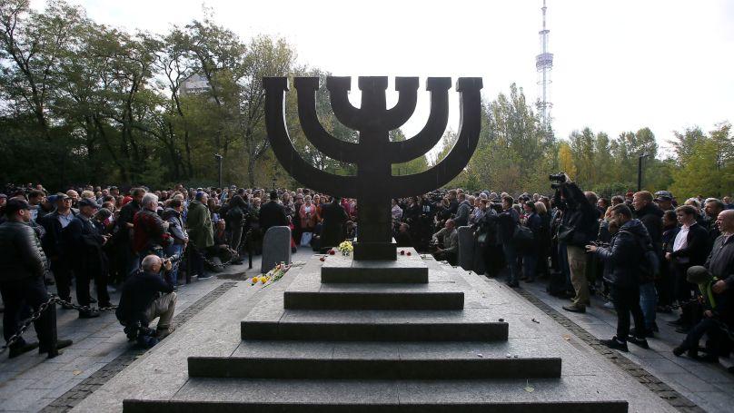 The Menora monument in Kiev in memory of those massacred in Baby Yar in 1941