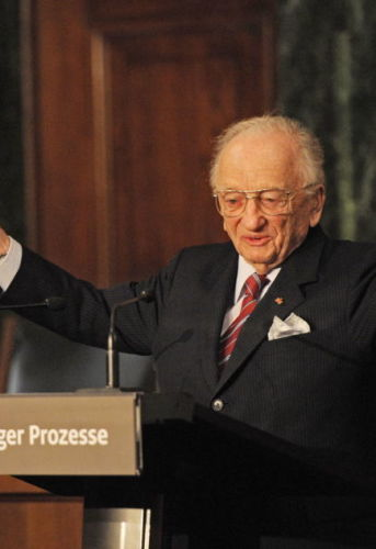 American lawyer Benjamin Ferencz attends the opening of an exhibition commemorating the Nuremberg Trials, November 2010