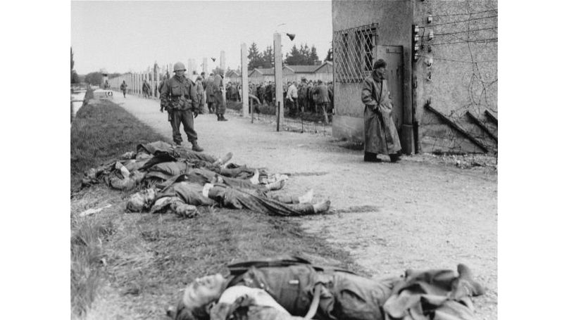 SS guards killed by American soldiers during the liberation of Dachau concentration camp