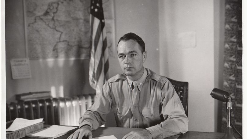 Telford Taylor, chief counsel for the prosecution. Ferencz was on his team during the International Military Tribunal at Nuremberg