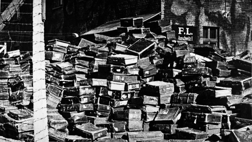 Luggage belonging to former prisoners of Nazi concentration camp, Auschwitz, bearing labels from countries all over Europe.