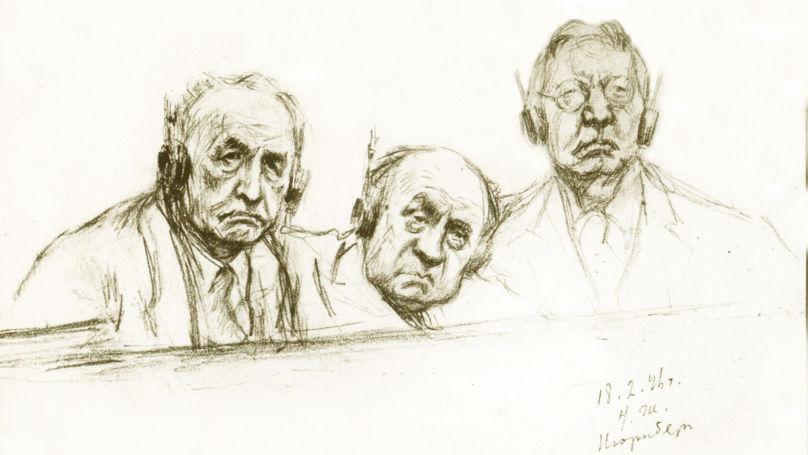 Procès de Nuremberg. Les accusés Julius Streicher, Walther Funk et Hjalmar Schacht. Dessin de Nikolaï Joukov, archives de Musée central des forces armées de la Russie