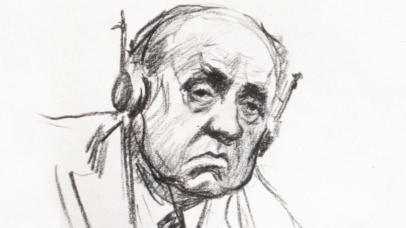 L'accusé Walther Funk au procès de Nuremberg. Dessin de Nikolaï Joukov, archives de Musée central des forces armées de la Russie