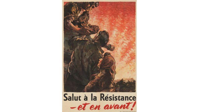 Affiche des années 1940 Salut à la Résistance – et en avant! Bureau d'Information anglo-américain