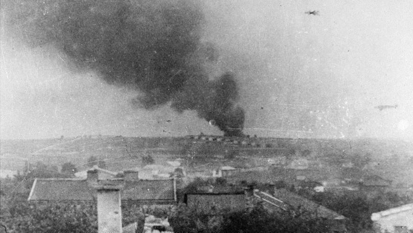 Smoke above the Majdanek concentration camp, 1943