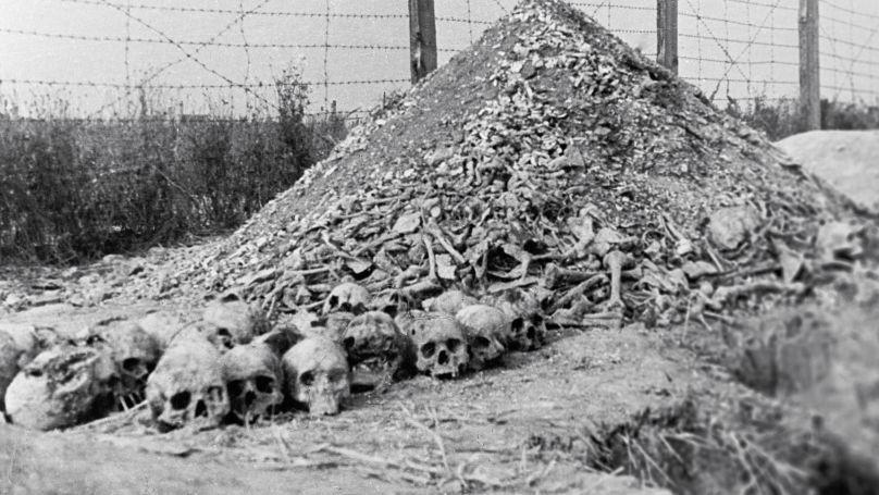 Human remains at the Majdanek camp