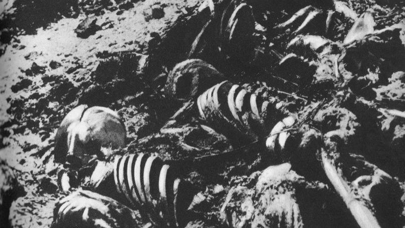 Human remains at Majdanek camp
