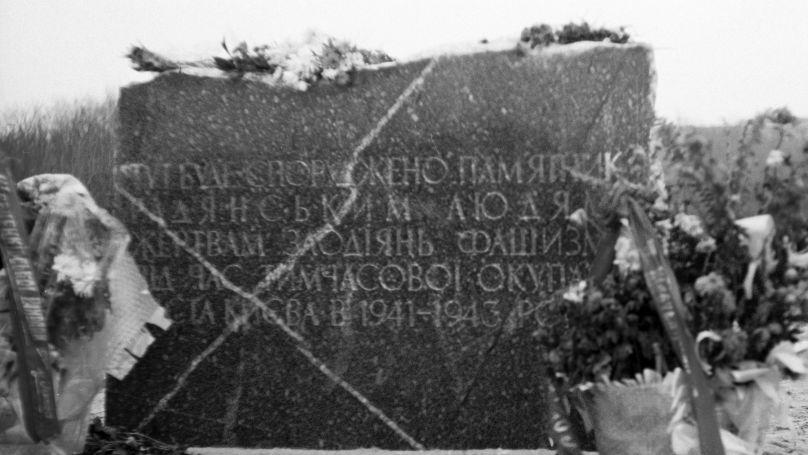 Babi Yar, lieu de l'élimination massive par les occupants allemands de civils (principalement Juifs) et de prisonniers de guerre en 1941-1943.