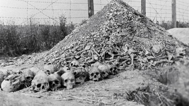 Sur le territoire du camp de concentration de Majdanek. Une montagne d'ossements humains et de cendres de prisonniers tués et brûlés.