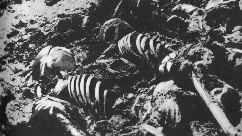 Des restes de personnes décédées dans le camp de concentration de Majdanek