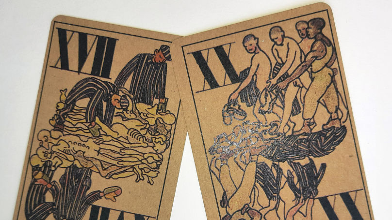 Every cutting of the Kobe's deck depicts torment, humiliation and death
