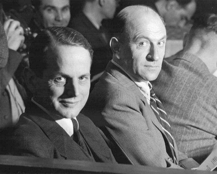 Otto Ohlendorf et Heinz Jost sur le banc des accusés lors du neuvième procès devant le Tribunal militaire de Nuremberg.