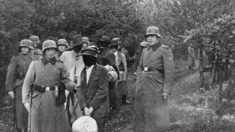 Des civils aux yeux bandés sont emmenés vers le lieu d'un massacre dans un bois // Narodowe Archiwum Cyfrowe