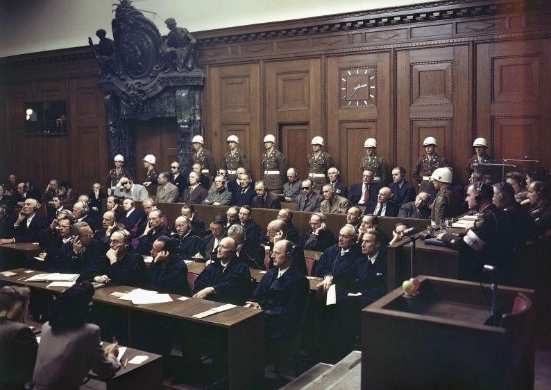 Les accusés lors du prononcé du jugement, le 30 septembre 1946
