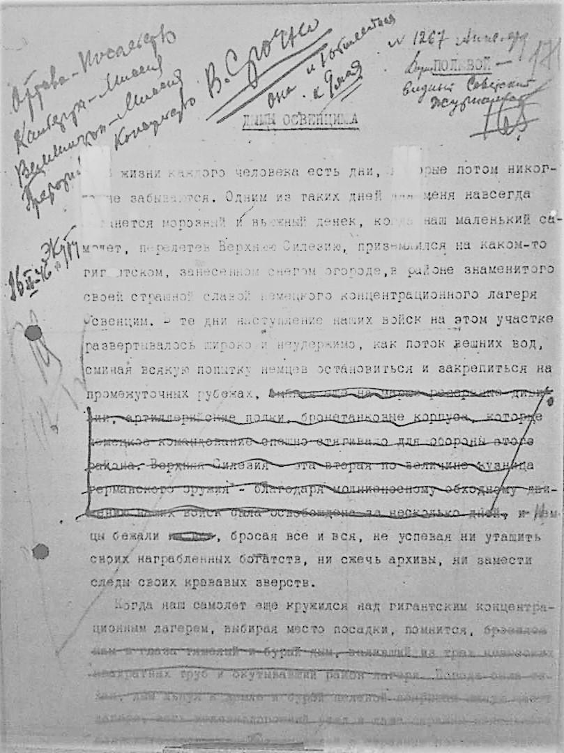 """Bericht des """"Prawda""""-Korrespondenten Boris Polewoi für die Politische Verwaltung der 1. Ukrainischen Front über das KZ-Lager Auschwitz vom 29. Januar 1945"""